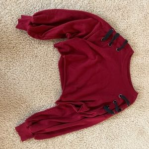 deep red cropped long sleeve shirt